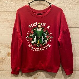 ELF Son of a Nutcracker Unisex Red Christmas Sweater Size M NEW
